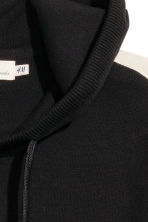 Fine-knit hooded jumper - Black/White - Men | H&M 3