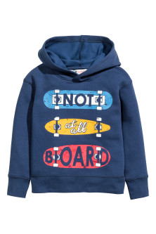 Print-motif hooded top