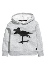 Print-motif hooded top - Grey/Dinosaur - Kids | H&M CN 2