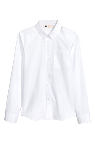Generous fit Easy-iron shirt - White - Kids | H&M
