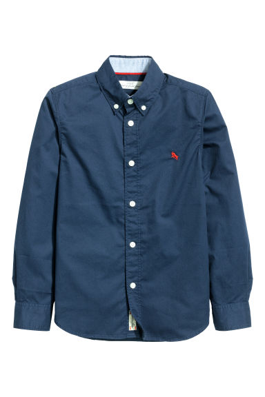 Generous fit Cotton shirt - Dark blue - Kids | H&M 1