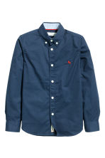 Generous fit Cotton shirt - Dark blue - Kids | H&M CN 1