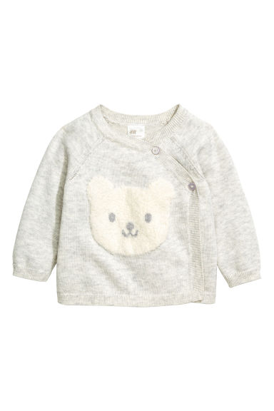 Wrapover cardigan - Light grey marl - Kids | H&M CN 1