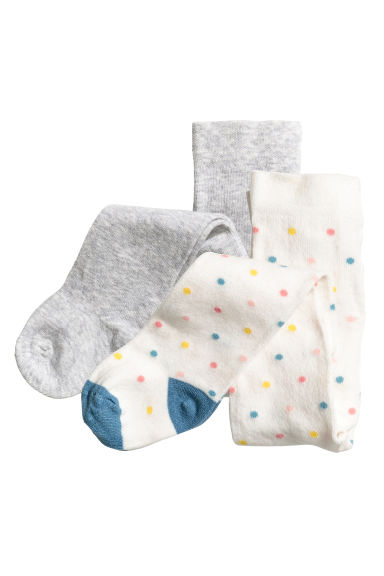 2-pack tights - White/Spotted - Kids | H&M 1