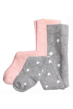2-pack tights - Grey heart - Kids | H&M 1