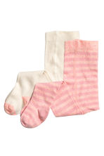 2-pack tights - Pink/Striped - Kids | H&M CN 1