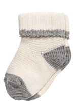 Cotton-blend socks - Natural white - Kids | H&M 1