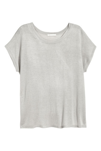 Fine-knit top - Light grey - Ladies | H&M CN 1