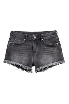Worn denim shorts
