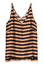 V-neck vest top - Dark beige/Striped - Ladies | H&M CN 2
