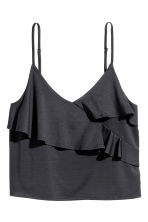 Strappy top with a flounce - Dark grey - Ladies | H&M CN 1