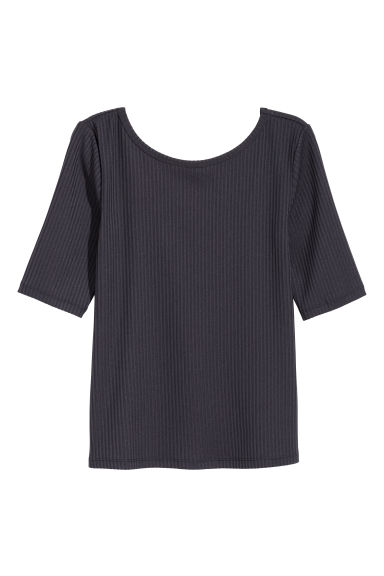 Ribbed jersey top - Dark blue - Ladies | H&M CA 1