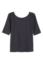 Ribbed jersey top - Dark blue - Ladies | H&M 1