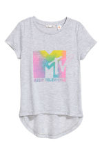 Printed top - Light grey marl/MTV - Kids | H&M 2