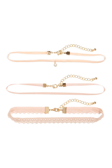 3-pack chokers - Powder pink - Ladies | H&M CN 1