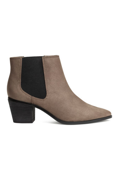 Ankle boots with pointed toes - Dark Khaki - Ladies | H&M