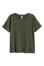 Cotton-blend T-shirt - Dark green - Ladies | H&M 2