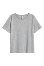 Cotton-blend T-shirt - Grey marl - Ladies | H&M CA 2