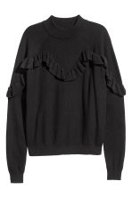 Knitted frilled jumper - Black -  | H&M 2