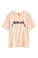 Printed T-shirt - Beige/Metallica - Ladies | H&M CN 2