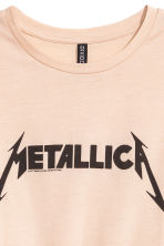Printed T-shirt - Beige/Metallica - Ladies | H&M CN 3