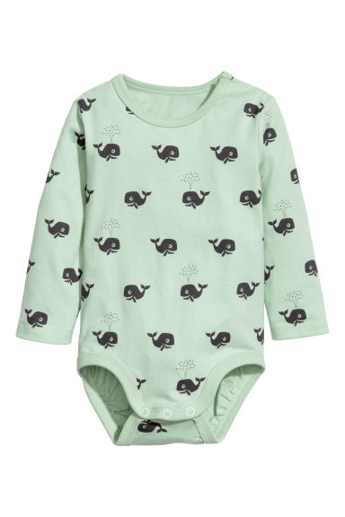Long-sleeved bodysuit - Light green/Whale -  | H&M CN