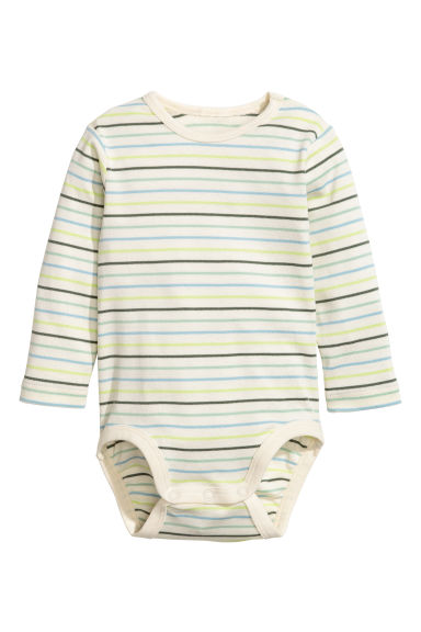 Long-sleeved bodysuit - Natural white/Striped - Kids | H&M CA 1