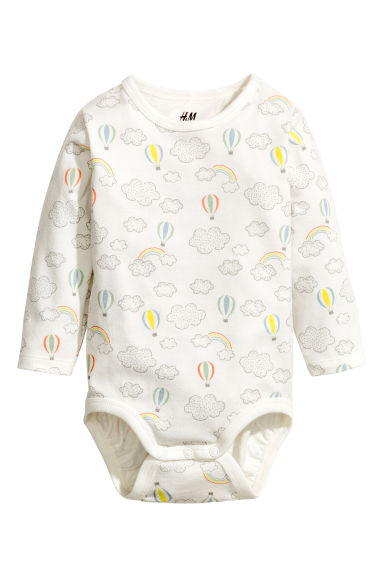 Long-sleeved bodysuit - White/Cloud -  | H&M CA 1
