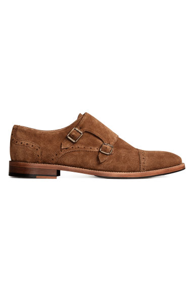 Suede monkstrap shoes - Cognac brown - Men | H&M IE