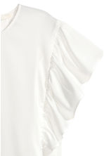 Satin top with frilled sleeves - White - Ladies | H&M CN 3