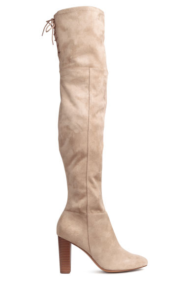 Thigh-high boots - Light beige - Ladies | H&M 1