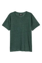 Linen T-shirt - Dark green - Men | H&M CN 2