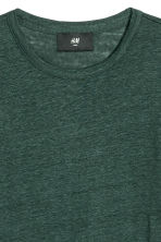 Linen T-shirt - Dark green - Men | H&M CN 3