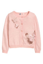 Fine-knit sequined cardigan - Light pink/Butterflies - Kids | H&M CN 2