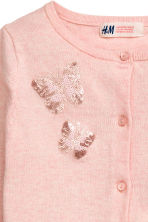 Fine-knit sequined cardigan - Light pink/Butterflies - Kids | H&M CN 3