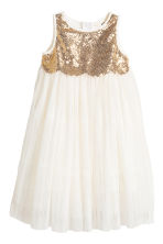Tulle dress with sequins - Natural white - Kids | H&M CN 2