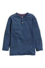 Henley shirt - Dark blue/Striped -  | H&M CN 2