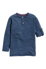 Henley shirt - Dark blue/Striped -  | H&M CN 3