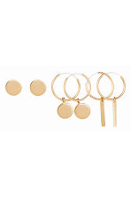 3 pairs earrings - Gold - Ladies | H&M CN 1