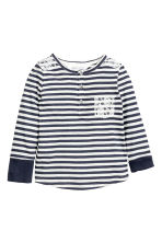 Long-sleeved Henley shirt - Dark blue/Striped - Kids | H&M CN 3