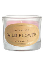 Scented candle in glass holder - Light pink/Wild flower - Home All | H&M IE 1