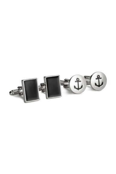 2 pairs cufflinks - Silver/Anchor - Men | H&M 1