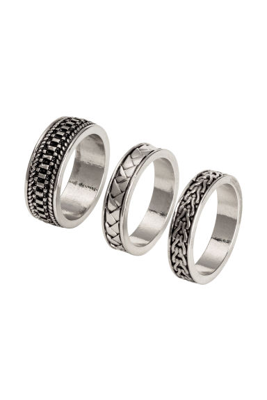 3-pack rings - Silver - Men | H&M 1