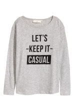 Long-sleeved top - Grey marl - Ladies | H&M CN 2