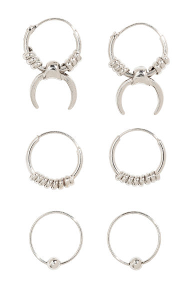 3 pairs mini hoop earrings - Silver - Ladies | H&M CN 1