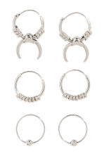 3 pairs mini hoop earrings - Silver - Ladies | H&M 1