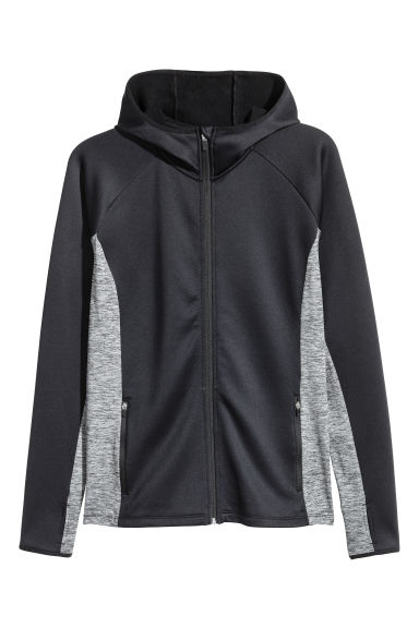 H&M+ Outdoor fleece jacket - Black/Grey marl - Ladies | H&M
