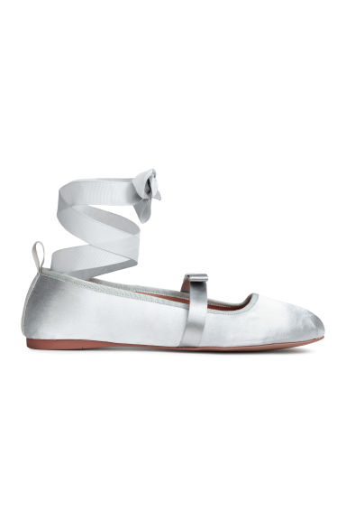 Ballet pumps with lacing - Silver - Ladies | H&M CN