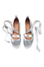 Ballet pumps with lacing - Silver - Ladies | H&M CN 2