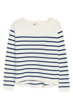 Fine-knit jumper - White/Dark blue/Striped - Kids | H&M CN 2